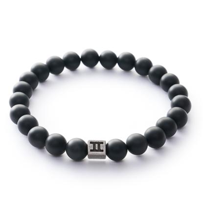 Picture of GEMINI - Men's Bracelet Natural Stone Matt Black