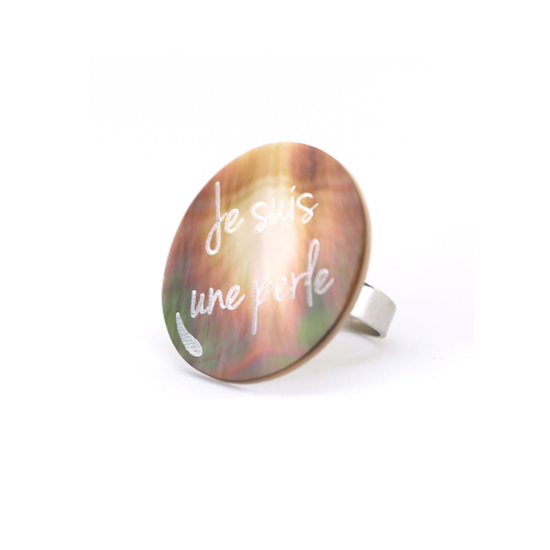 """Picture of FREE GIFT FOR ANY ONLINE PRE ORDER - MIEL A. - Ring mother of pearl """"Je suis une perle"""""""